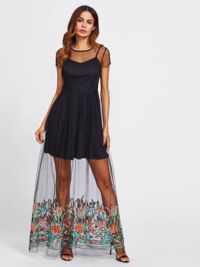 Embroidered Mesh Overlap 2 In 1 Dress