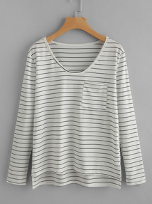 Slit Side High Low Striped Tee