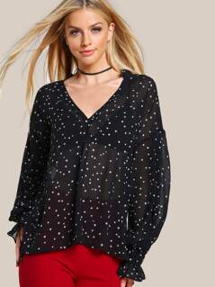 Frilled Plunge Neck And Cuff Star Print Blouse