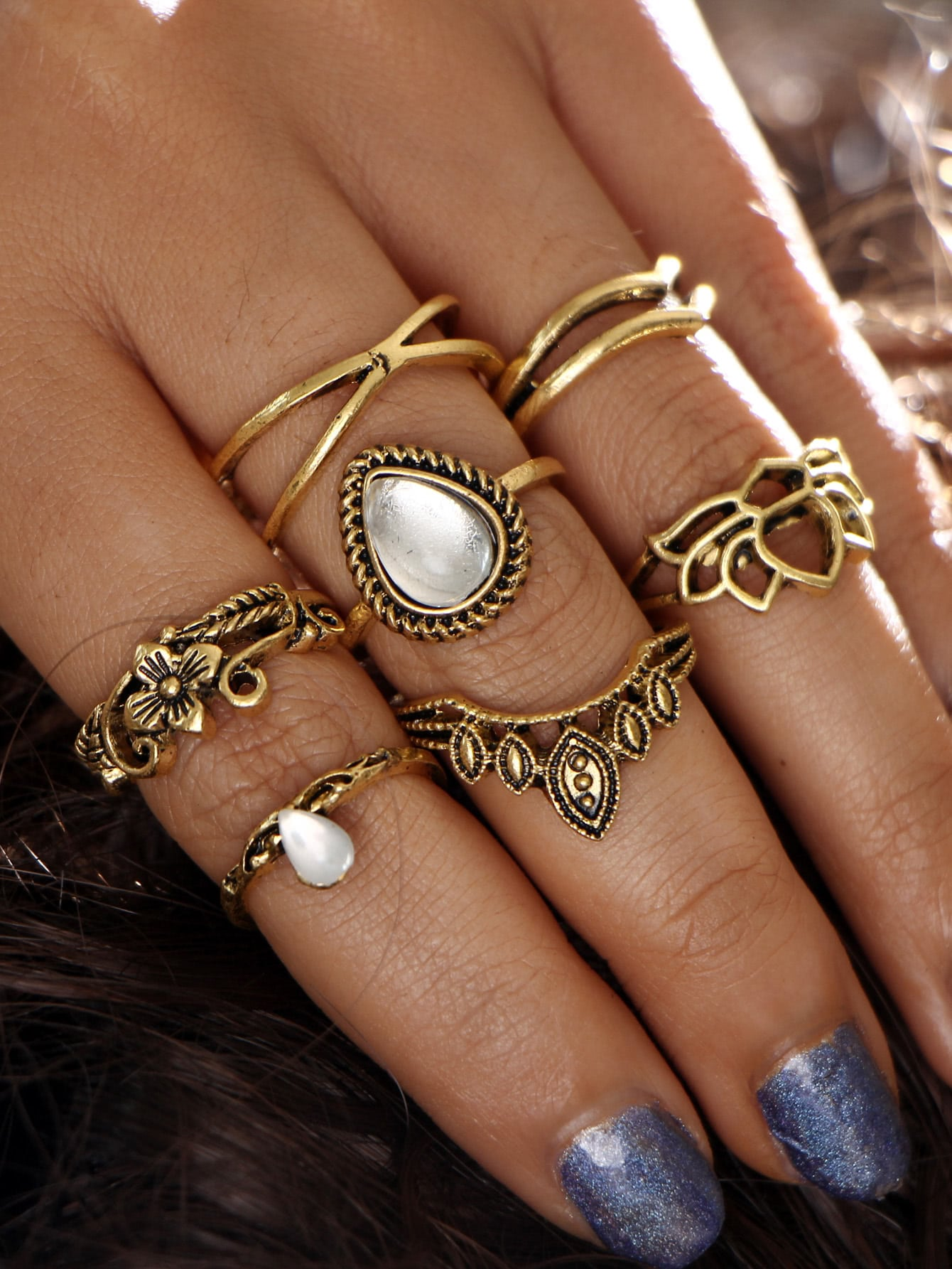 Gemstone Detail Hollow Flower Design Ring Set 7pcs