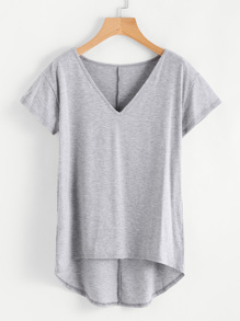 Heather Knit Dip Hem Tee
