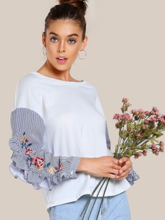 Embroidered Ruffle Sleeve Sweatshirt OFF WHITE