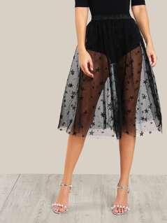 Star Flock Mesh Skirt
