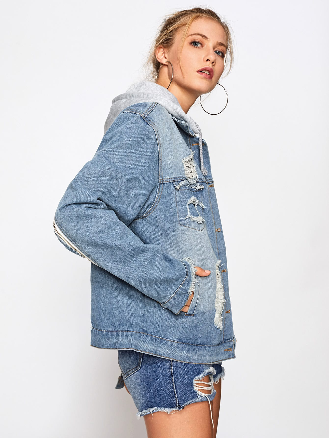 Wings Embroidered Back Hooded Denim Jacket