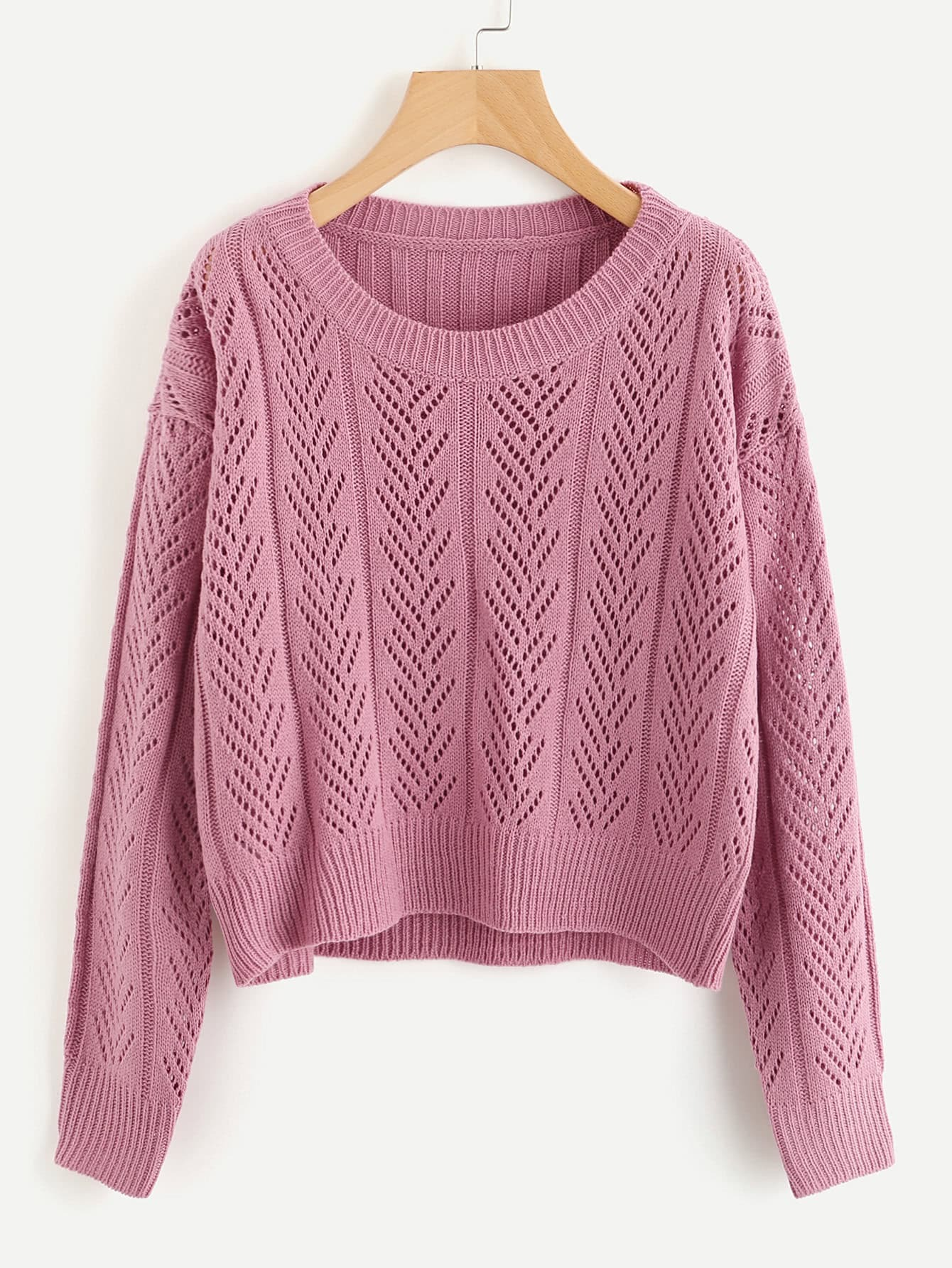 Ribbed Back Hollow Out Sweater sweater170831468