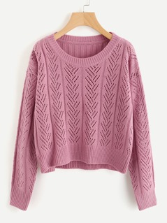 Ribbed Back Hollow Out Sweater