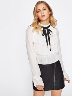 Tiered Flounce Front Bell Cuff Blouse