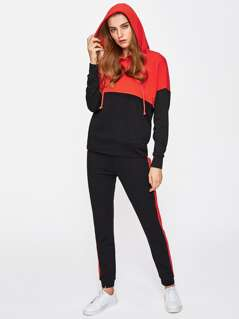 Two Tone Hoodie And Sweatpants Set