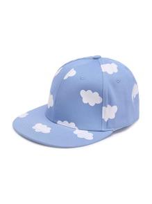 Clouds Print Snapback Cap
