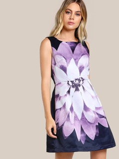 Floral Print High Neck Dress BLUE