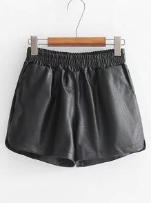 PU Shorts mit elastischer Taille