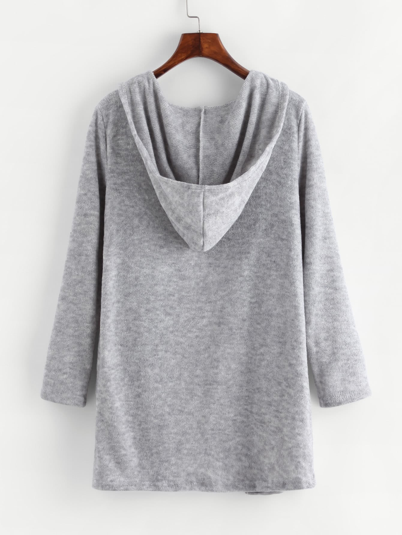 Dual Pocket Hooded Cardigan -SheIn(Sheinside)