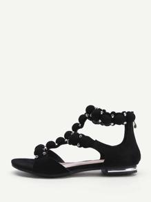 Caged Detail Zipper Back Flat Sandals