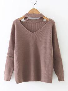 Choker V Neckline Zip Sleeve Ribbed Sweater