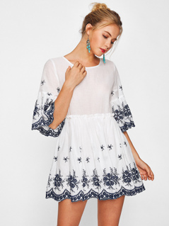 Scallop Eyelet Embroidered Smock Dress