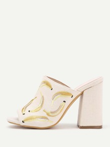 Banana Embroidery Peep Toe Heeled Mules
