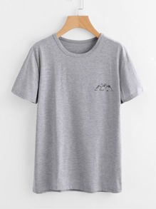 Mountain Print Marled T-shirt