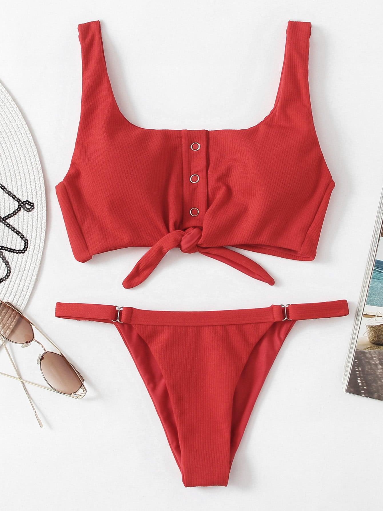 Knot Front Low Back Bikini Set knot back solid bikini set