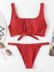 Knot Front Low Back Bikini Set