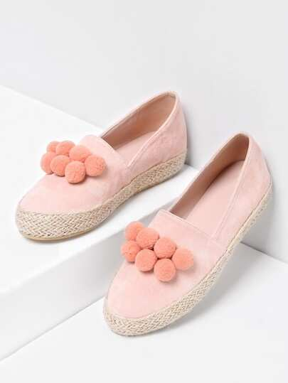 Pom Pom Decorated Woven Flats