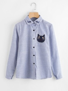 Vertical Striped Cartoon Cat Embroidery Shirt