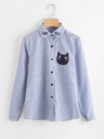 Blouse brodée du chat de l\'animation à rayures