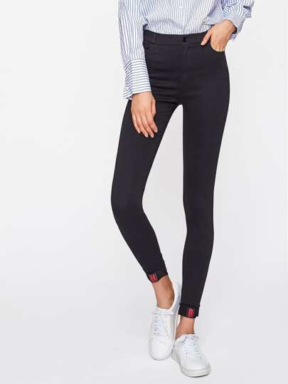 Skinny Patch Detail Jeans