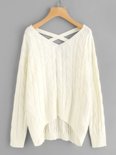 Crisscross V Back Cable Knit Jumper