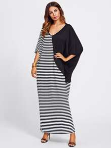 Contrast Stripe V Cut Back Dress