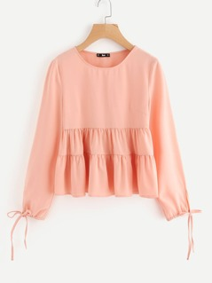 Drawstring Tie Cuff Tiered Blouse