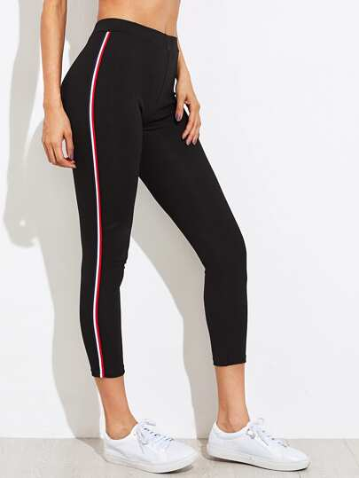 Side Stripe Skinny Crop Leggings