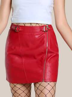 Buckle Strap Waist Zip Detail Faux Leather Skirt