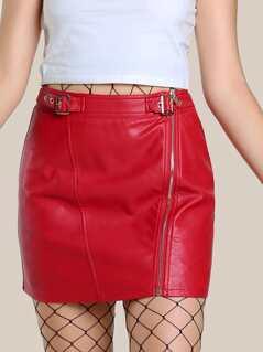 Buckle Strap Waist Zip Detail Faux Leather Skirt
