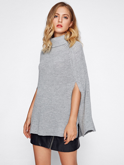 Roll Neck Poncho Jumper With Arm Hole