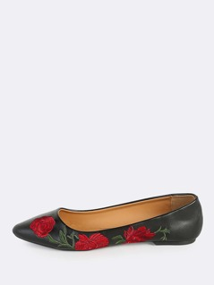 Point Toe Embroidered Flats BLACK