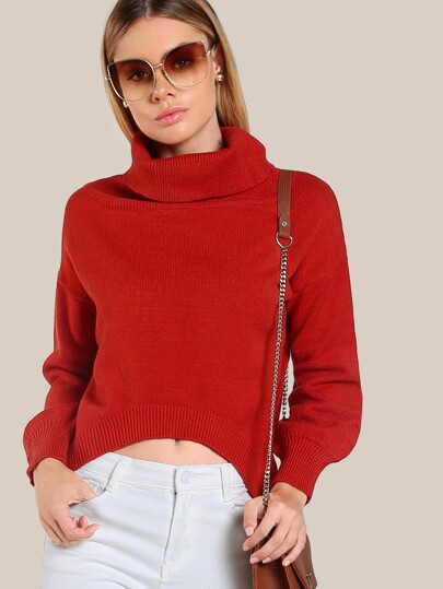 Turtleneck Hi Lo Top ORANGE RED