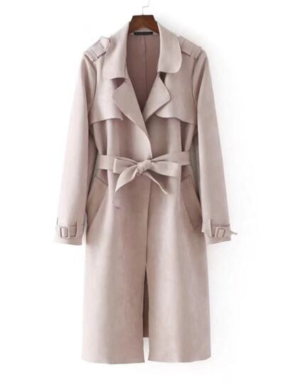 Suede Trench Coat With Belt