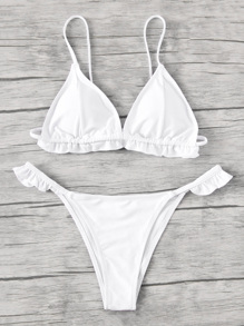 Frill Trim Triangle Bikini Set