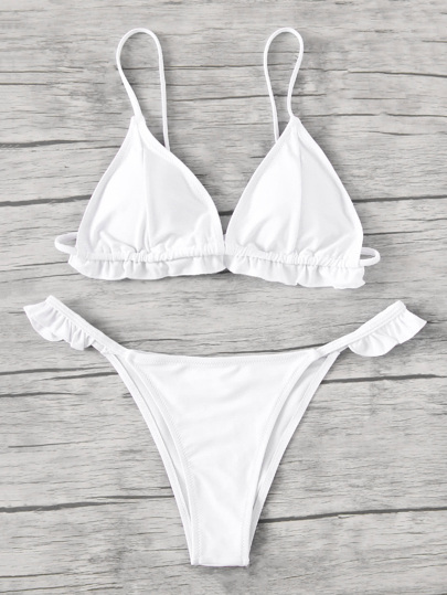 Buy Frill Trim Triangle Bikini Set swimwear170803303