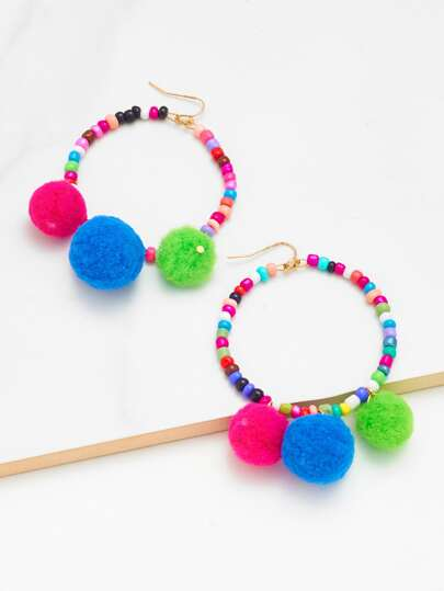 Pom Pom Decorated Beaded Earrings