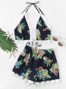 Floral Lace Trim Halter Top And Shorts Co-Ord