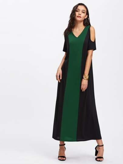 Contrast Panel Open Shoulder Dress