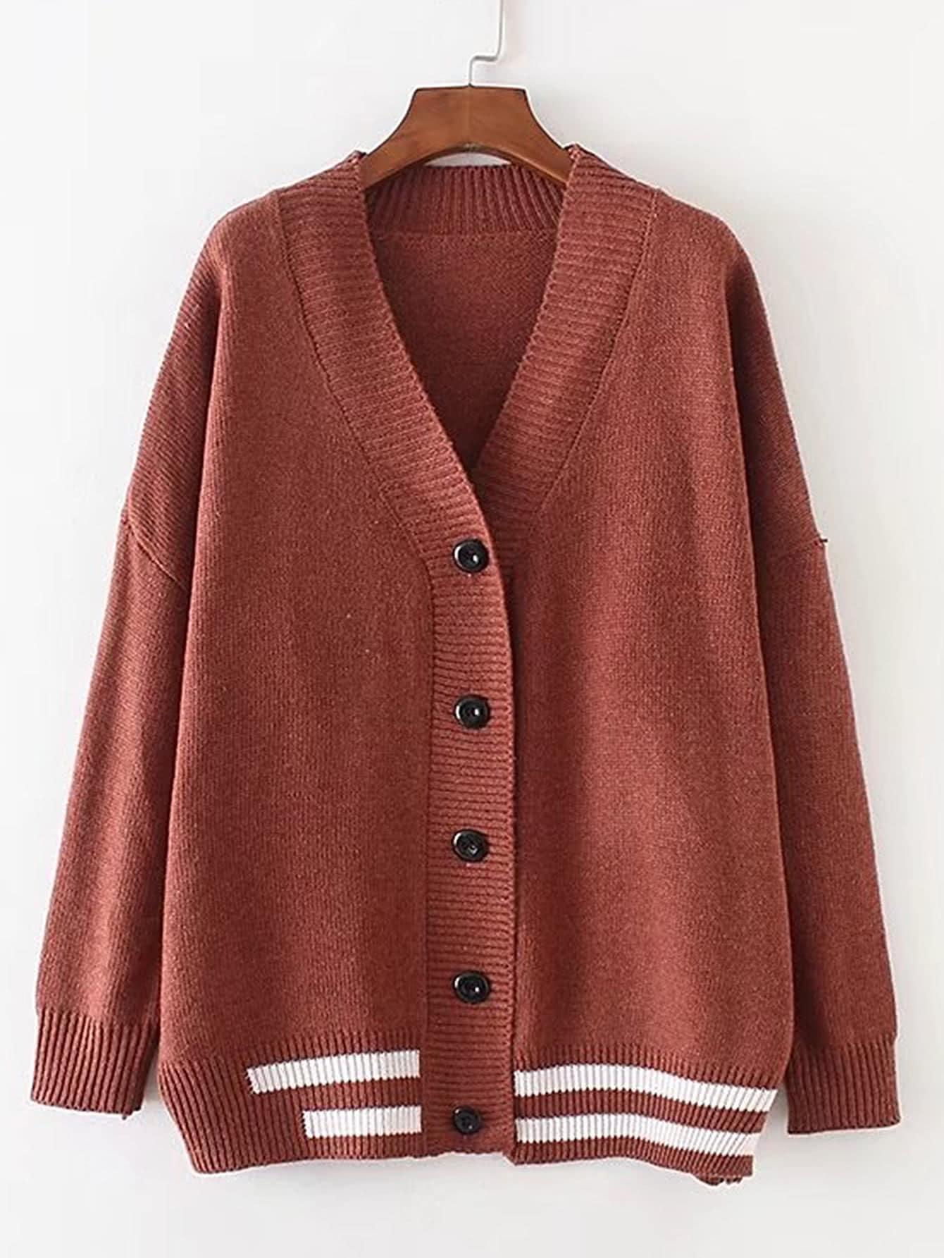 Drop Shoulder Seam Striped Trim Cardigan sweater170810206