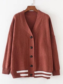 Drop Shoulder Seam Striped Trim Cardigan