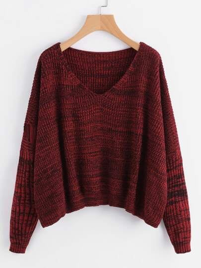 Marled Knit Laddering Sleeve Jumper