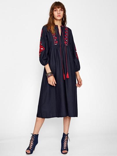 Embroidered Lantern Sleeve Fringe Dress