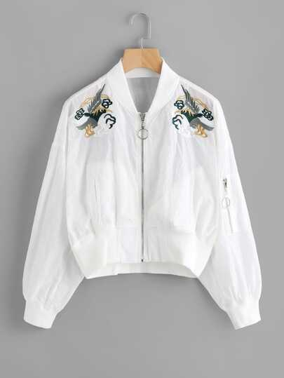See Through Symmetric Embroidered Jacket