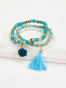Tassel & Rose Design Beaded Bracelet Set 3pcs