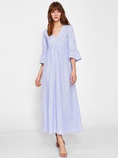 Fluted Sleeve Split Back Pinstripe Smock Dress