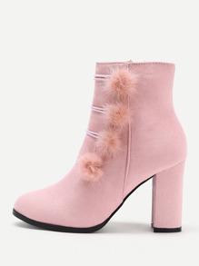 Side Pom Pom Heeled Boots